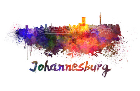 Johannesburg skyline in watercolor splatters with clipping path photo