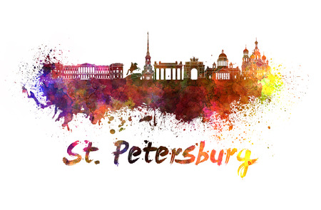 saint petersburg: Saint Petersburg skyline in watercolor splatters with clipping path Stock Photo