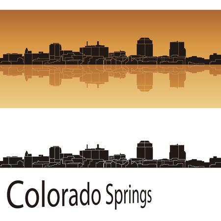 colorado springs: Colorado Springs skyline in orange background in editable vector file Illustration