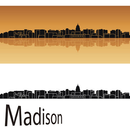 madison: Madison skyline in orange background in editable vector file Illustration