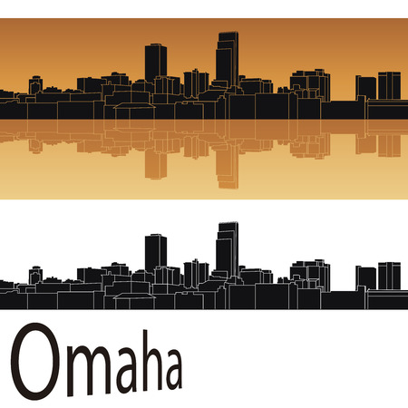 Omaha skyline in orange background in editable vector file Illustration