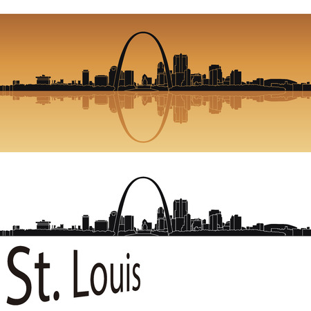 st: St Louis skyline in orange background in editable vector file