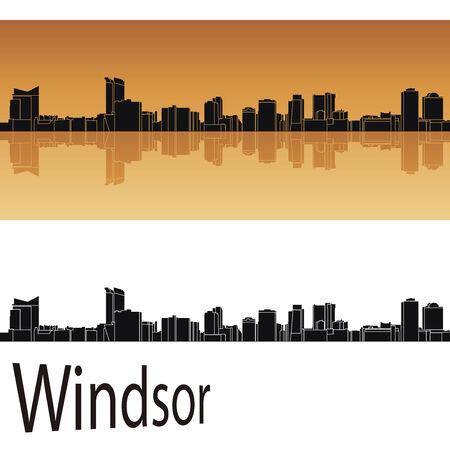 windsor: Windsor skyline in orange background in editable vector file