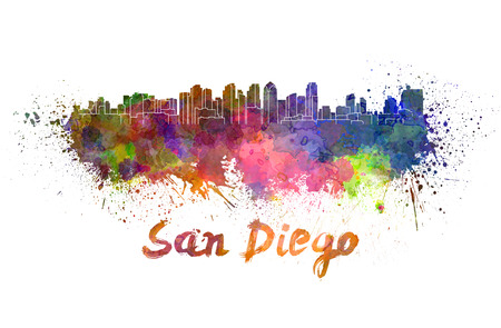 San Diego skyline in watercolor splatters with clipping path Reklamní fotografie