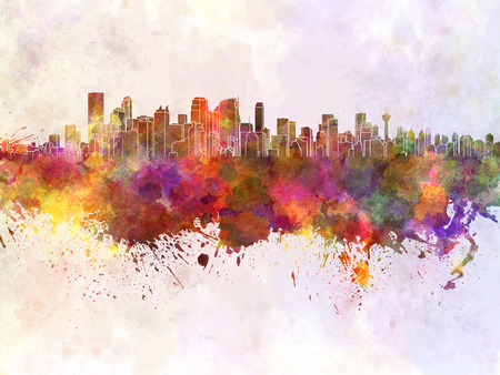 calgary: Calgary skyline in watercolor background Stock Photo