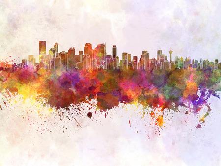 calgary: Calgary skyline in watercolor background Stock Photo