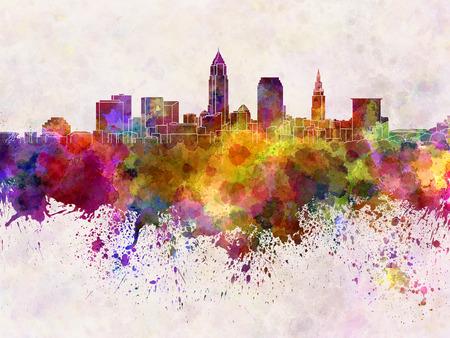 Cleveland skyline in sfondo acquerello Archivio Fotografico - 30546312