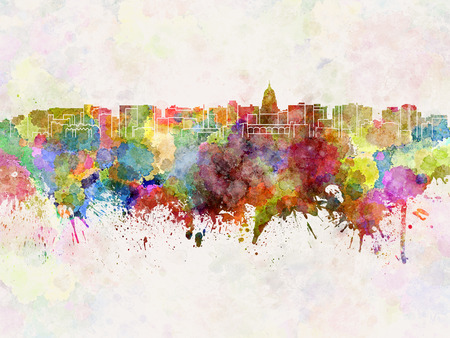 madison: Madison skyline in watercolor background