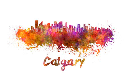 calgary: Calgary skyline in watercolor splatters with clipping path