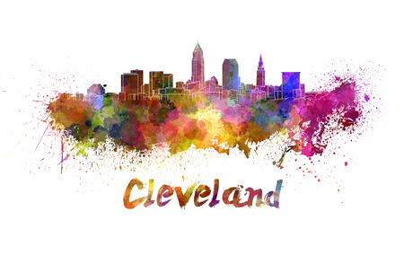 Cleveland skyline in watercolor splatters