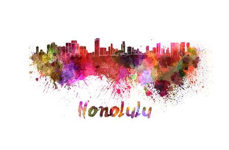 honolulu: Honolulu skyline in watercolor splatters with clipping path