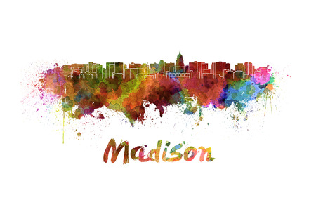 madison: Madison skyline in watercolor splatters with clipping path