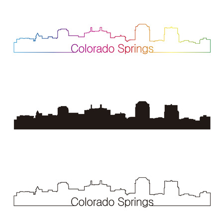 colorado springs: Colorado Springs skyline linear style with rainbow in editable vector file