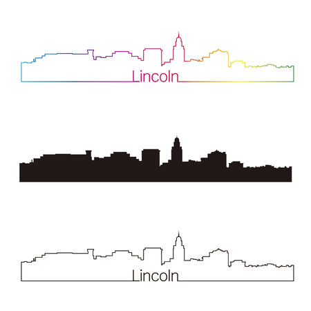 lincoln: Lincoln skyline linear style with rainbow in editable vector file