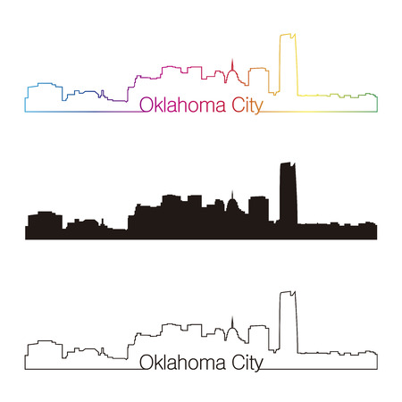 Oklahoma City skyline linear style with rainbow in editable vector file Vector