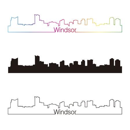 windsor: Windsor skyline linear style with rainbow in editable vector file