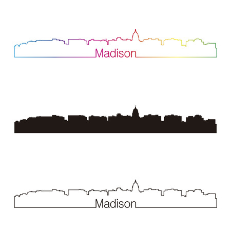 madison: Madison skyline linear style with rainbow in editable vector file Illustration