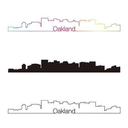 Oakland skyline linear style with rainbow in editable vector file