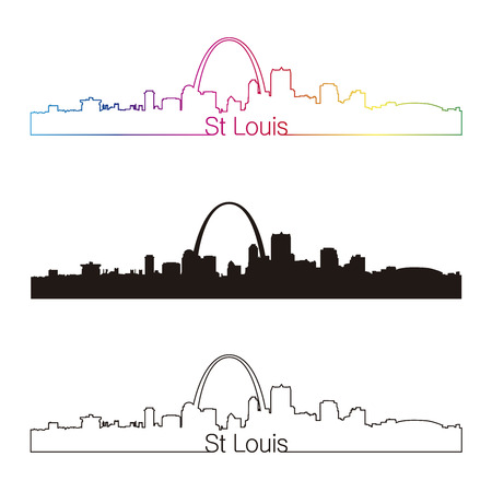 outlines: St Louis skyline linear style with rainbow in editable vector file