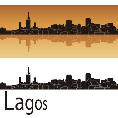 Lagos skyline in orange background in editable vector file Illustration