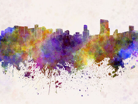 orlando: Orlando skyline in watercolor