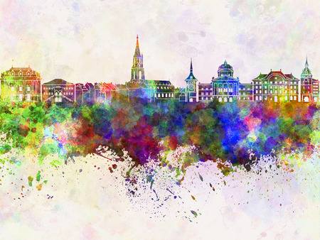 toulouse: Toulouse skyline in watercolor