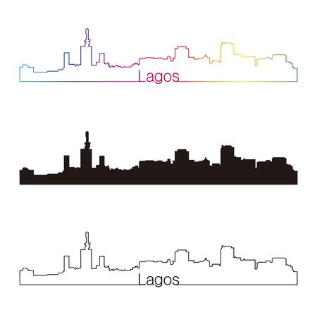 lagos: Lagos skyline linear style with rainbow in editable vector file