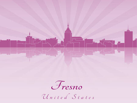 Fresno skyline in radiant orchid in editable vector file
