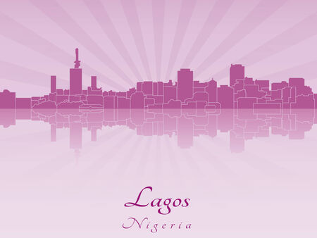 Lagos: Lagos skyline in radiant orchid in editable vector file