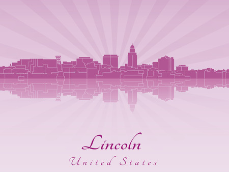 lincoln: Lincoln skyline in radiant orchid in editable vector file