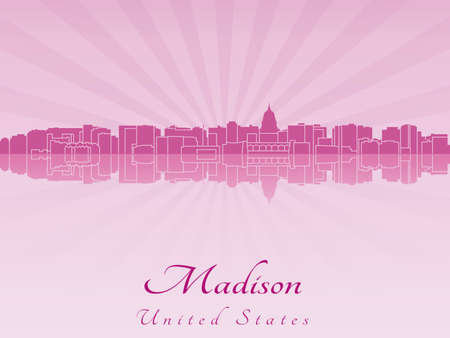 Madison skyline in radiant orchid in editable vector file