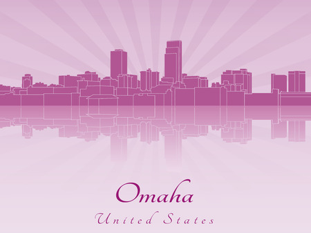 Omaha skyline in radiant orchid in editable vector file