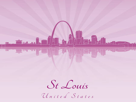 St Louis skyline in radiant orchid in editable vector file Illustration