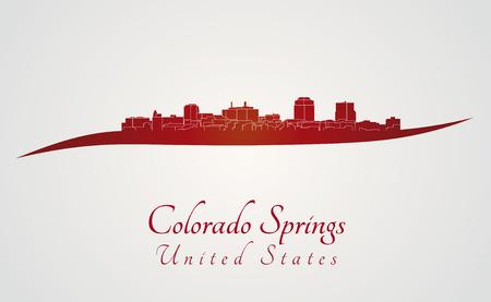 colorado springs: Colorado Springs skyline in red and gray background