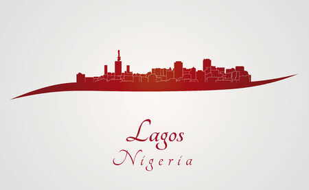 lagos: Lagos skyline in red and gray background