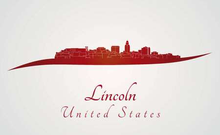 lincoln: Lincoln skyline in red and gray background