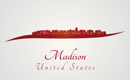 madison: Madison skyline in red and gray background Illustration
