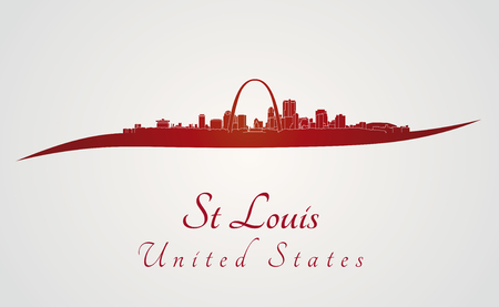 St Louis skyline in red and gray background