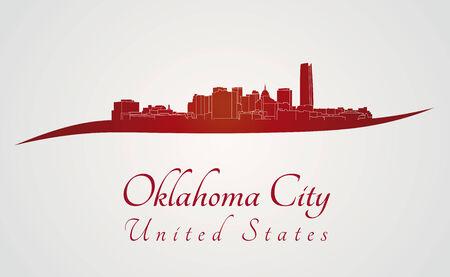oklahoma: Oklahoma City skyline in red and gray background