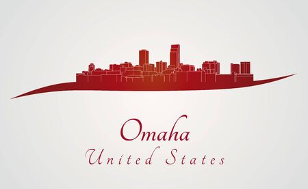 omaha: Omaha skyline in red and gray background