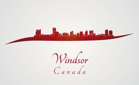 windsor: Windsor skyline in red and gray background  Illustration
