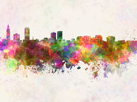 baton rouge: Baton Rouge skyline in watercolor background