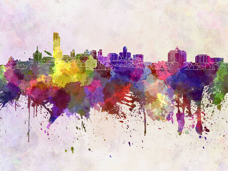 albany: Albany skyline in watercolor background