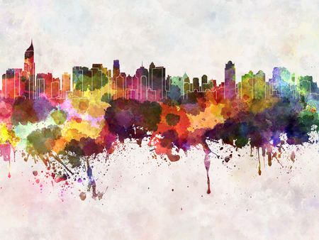 Jakarta skyline in watercolor background