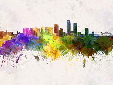corpus: Corpus Christi skyline in watercolor background