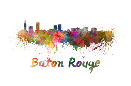 baton rouge: Baton Rouge skyline in watercolor splatters with clipping path Stock Photo