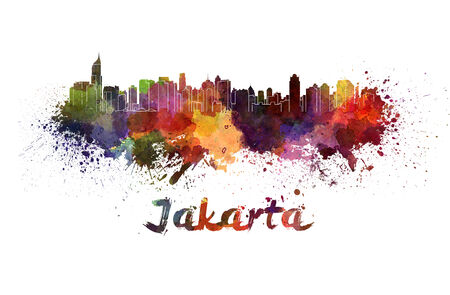 Jakarta skyline in watercolor splatters with clipping path Stock Photo
