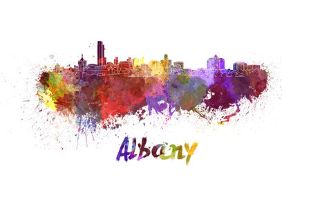 albany: Albany skyline in watercolor splatters with clipping path