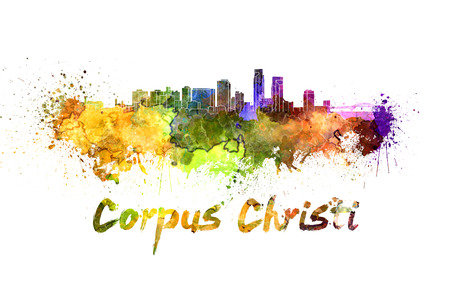Corpus Christi skyline in watercolor splatters with clipping path