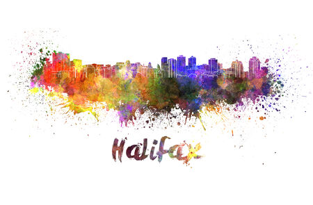 halifax: Halifax skyline in watercolor splatters with clipping path